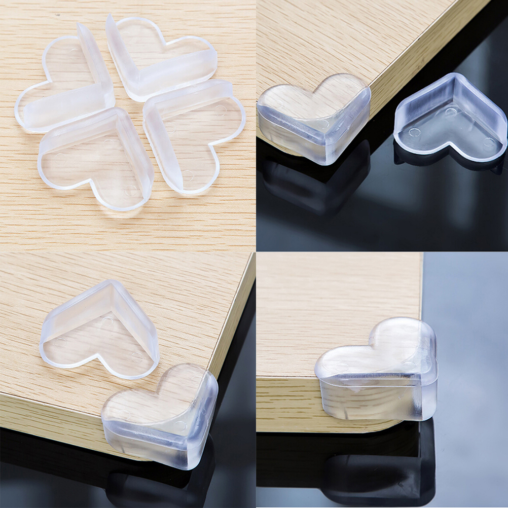 4X Child Baby Safe Silicone Protector Table Heart Corner Edge Protection Cover