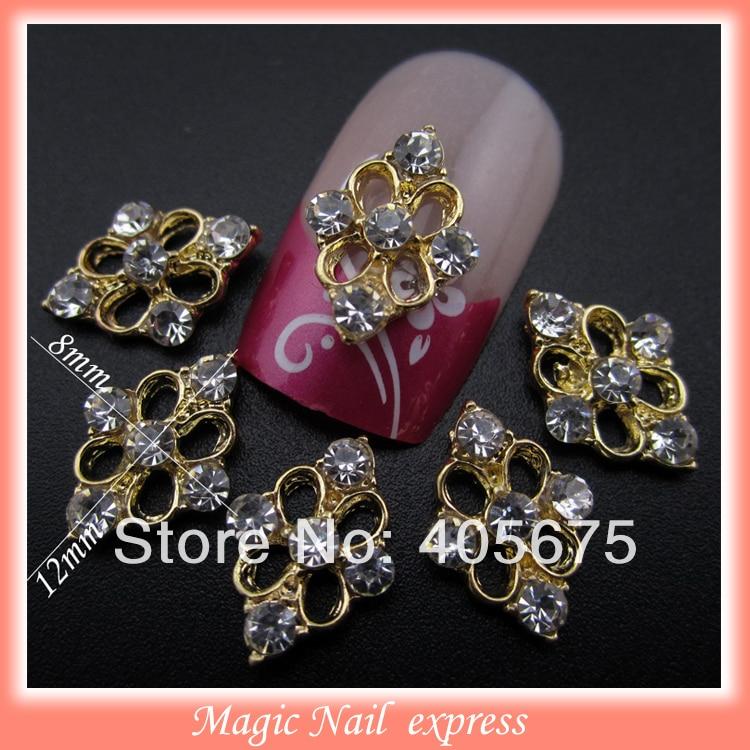 ⑤Gold 3d metal nail art decoration crystal rhinestone DIY nail ...
