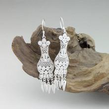 999 Sterling Silver Earrings Drop Tassel Women's Earrings Tassels Bohemian Vintage Vase Ethnic Handmade Fashion Jewelry Boho цена
