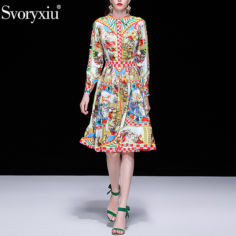 Svoryxiu Elegant Runway Spring Summer Dress Women s Fashion Long Sleeve Vintage Pattern Printed Slim Party