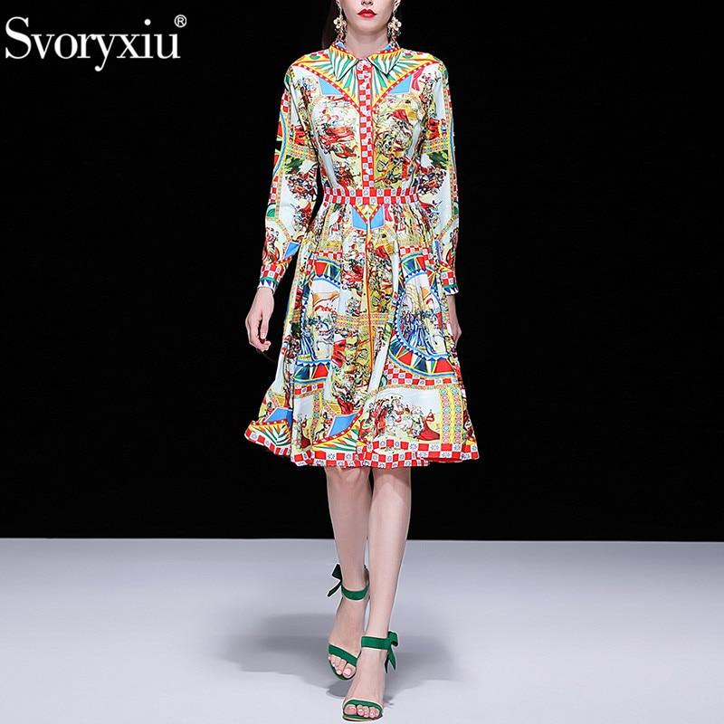 Svoryxiu 우아한 활주로 봄 여름 드레스 여성 패션 긴 소매 빈티지 패턴 인쇄 슬림 파티 드레스 vestdios-에서드레스부터 여성 의류 의  그룹 1