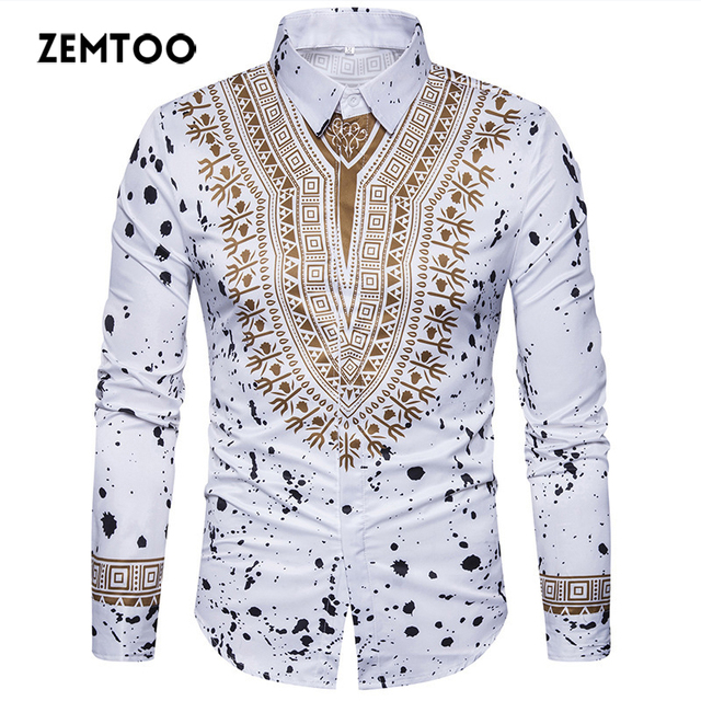 5c72e38cc zemtoo Men Shirt Luxury Brand Retro Floral Printed 2017 Male Short Sleeve Hawaiian  Shirts Casual Color