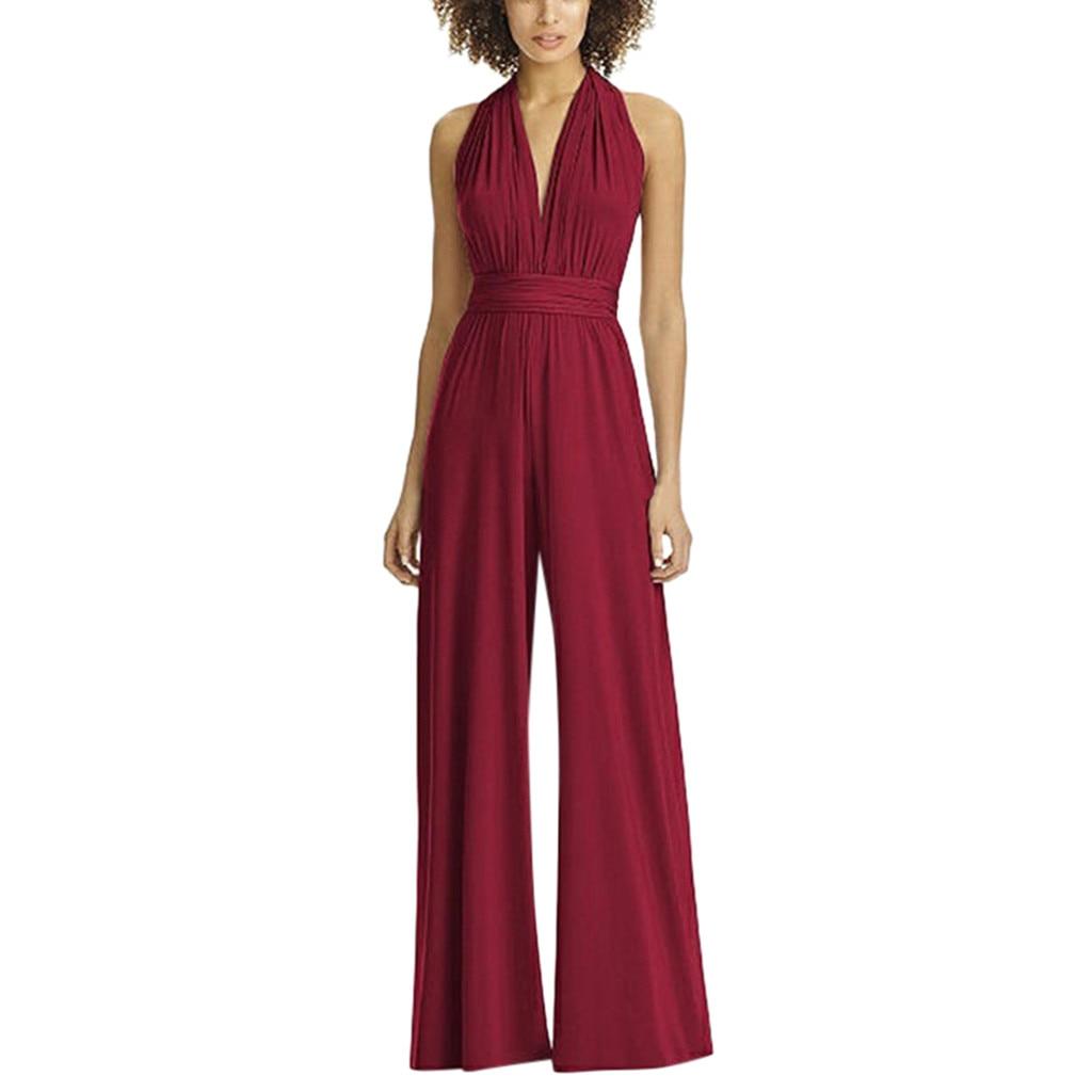 a934a7f75 Moda Nova Mujer sólido sin mangas cuello pico verano Largo Monos Largos  Mujer Pantalon Largo ...