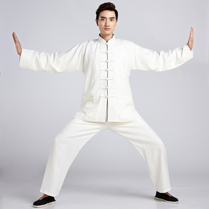 White Novelty Chinese Men Linen Tai Chi Tang Suit Kung fu Uniform Wu Shu Clothing Shirt