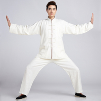 White Novelty Chinese Men Linen Tai Chi Tang Suit Kung fu Uniform Wu Shu Clothing Shirt&Pant Size M To XXXL NS007
