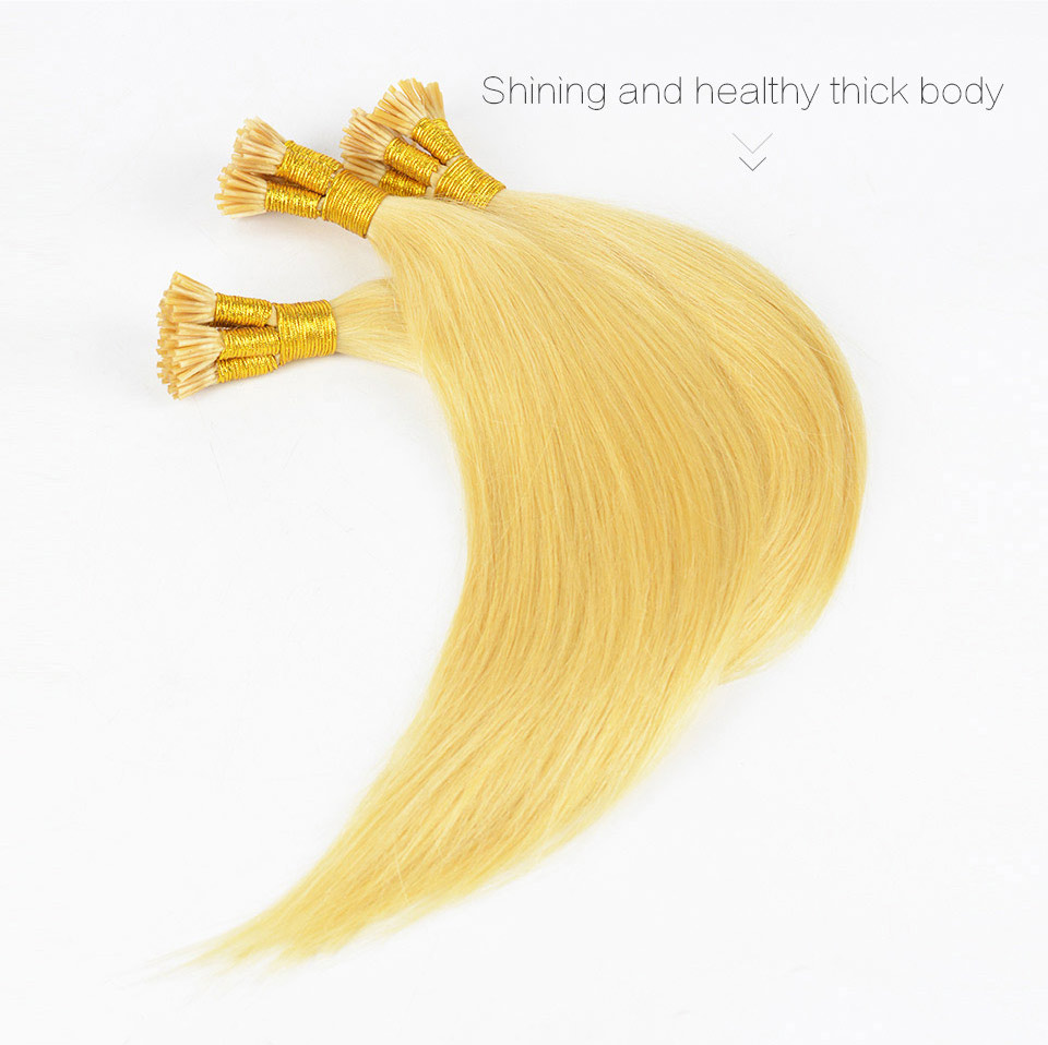 European Remy Hair Blonde Straight I Tip Human Fusion Hair ,100 Strands/Lot,0.5g/Strand,50/Lot Free Shipping