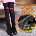 2016 Real Cotton Bamboo Fiber Microfiber Letter New Winter Girls Tights Pants Kids Warm Velvet