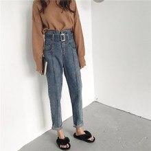 New Autumn Women Blue Denim Pants Casual Belt Loose Jeans Pants Vintage High Waist Pocket Harem Trousers