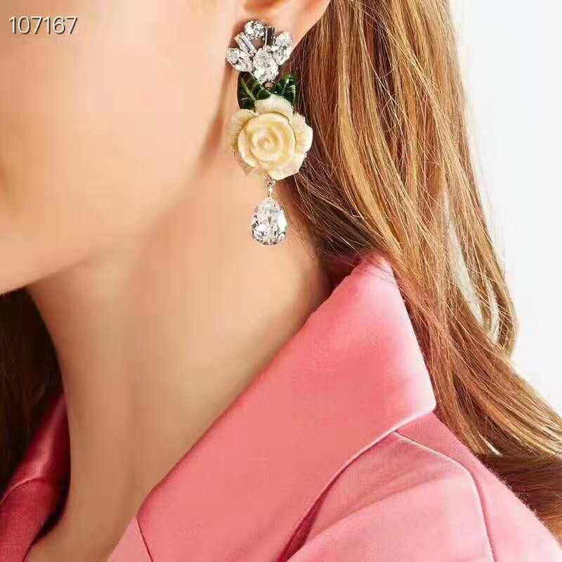 Cute Romantic yellow Flower Shape Convenient Simple Stud Earrings Copper Cubic Zirconia For Women Party