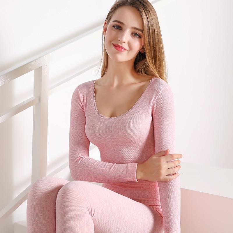 2019 New Women Thermal Underwears Sexy Slim Pajamas Sets Warm Winter Long Johns Ladies Seamless Antibacterial Underwear Suit
