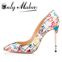 ONLYMAKER WOMEN S HIGH HEEL POINTED TOE ARTIST DOODLE PRINT PUMPS BIG SIZE US15 SHOES WOMEN