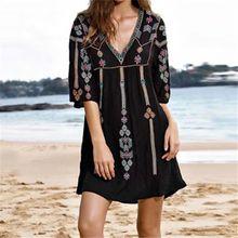 Embroidery Cotton Beach Tunic Cover up Saida de Praia Swimsuit Women Bikini cover Pareo Sarong Beachwear