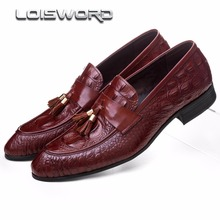 LOISWORD black / brown tan summer loafers mens dress shoes genuine leather casual shoes mens wedding shoes with tassel