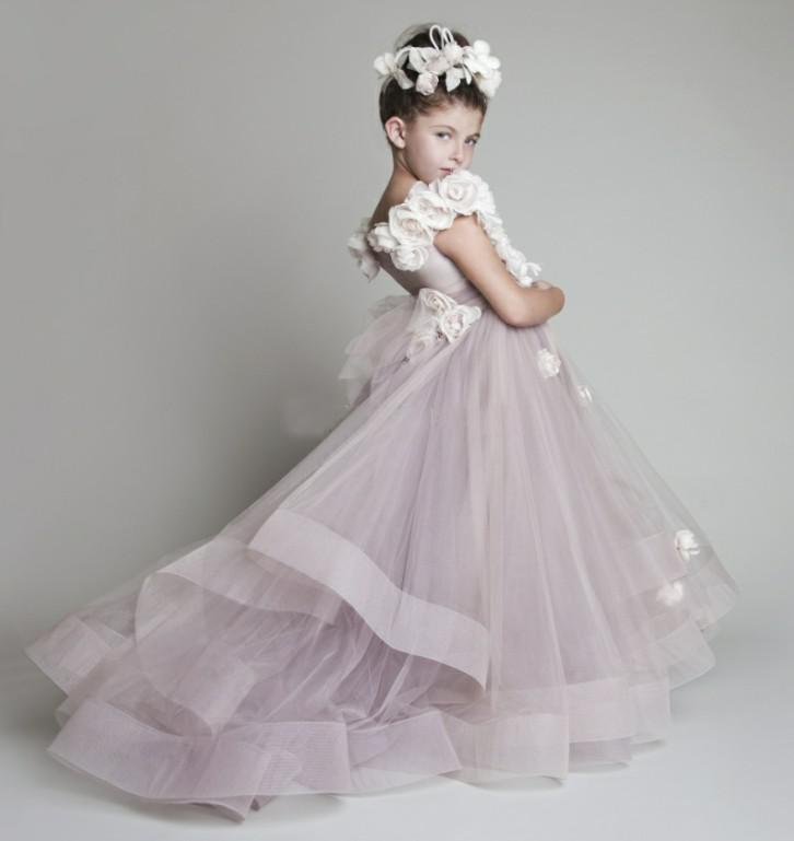 31c1333c2c4 Lovely Tulle Ruffled Handmade flowers One-shoulder Flower Girls  Dresses  Girl s Pageant Dresses First Communion Dresses 2016