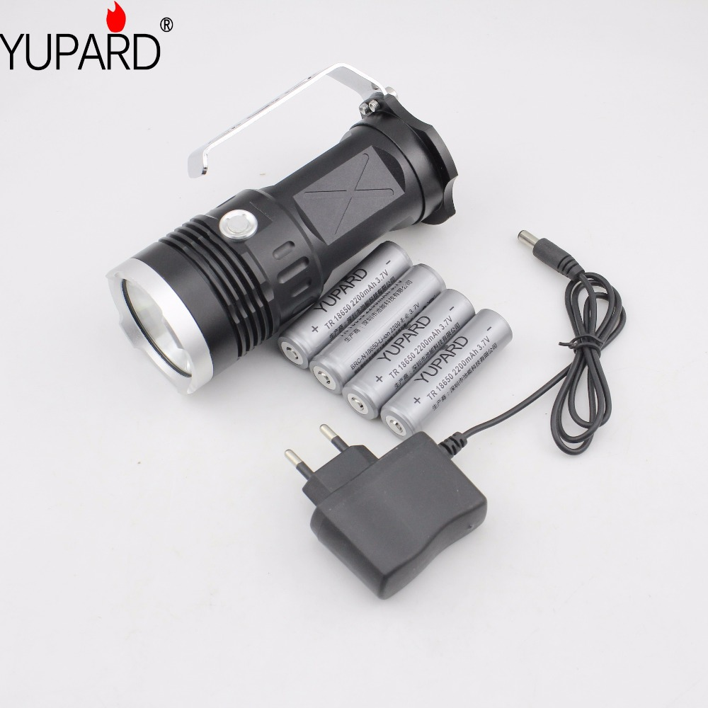 YUPARD 3* XM-L2 LED Searchlight Spotlight Flashlight torch lamp light 18650 battery 5500 Lm T6+4* 2200mAh 18650 Battery+Charger led xm l2 flashlight 8000lumens tactical flashlight hunting flash light torch lamp 18650 battery charger gun mount