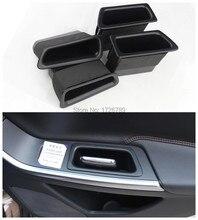 4 unids delantera + trasera negro puerta del coche cuadro apoyabrazos mango guantera de almacenamiento del teléfono titular de contenedores para Volvo S60 V60 2011-2015