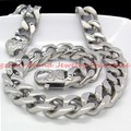 60cm long  13mm High Quality Male Jewelry 316L Stainless Steel Silver Curb Cuban Chain Men's Boy's Necklace HOT Quality