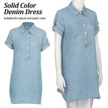 New Fashion Women Brief Design Blue Color Sashes Waist Jeans Soft Denim long College style Dress