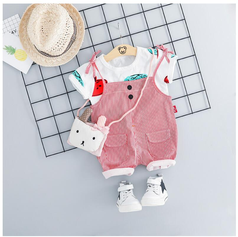 2019 Summer Baby Girls Clothing Sets Infant Toddler Clothes Suits T Shirt Strap Shorts Kids Children Casual Suit in Clothing Sets from Mother Kids