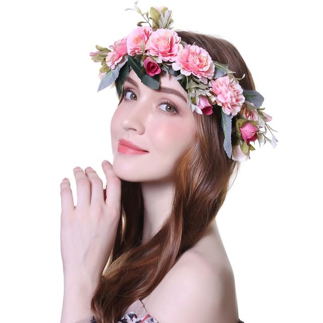 Crown Wedding Bride Wreath Of Flowers Head Band Women Hair Accessories 2