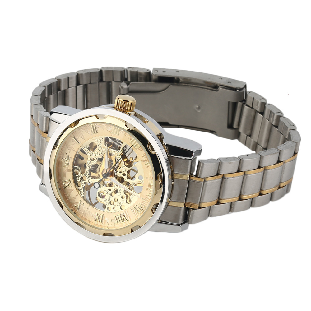 OUTAD Men Millitary Sport Watch Roman Numerals Skeleton Business Steel Automatic Mechanical Wrist Watches relogio masculino Gift
