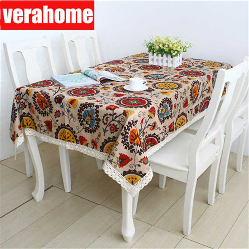 cotton linen lace tablecloth Rectangular Sunflower Retro bohemian home Kitchen Dining Table Cover  Wedding Party