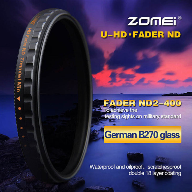 77mm ZOMEI HD Slim Adjustable Fader 18 Layer ND2-400 Filter Neutral Density ND Optical Glass For Canon Nikon Sony Pentax Lens
