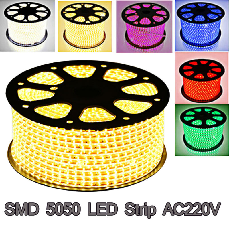 BSOD 100m / pack AC220V 60leds / m SMD5050 Led Strip Light + Power Plug Varmvit / Vit / Röd / Grön / Blå / Rosa Vattentät IP67 Ledband