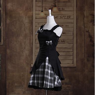 One-Piece/Dress Sweet Lolita Lolita Cosplay Lolita Dress Blanc/Noir Plaid/Vérifier Manches Courtes Longueur Dress Pour Femmes Cotto - 2