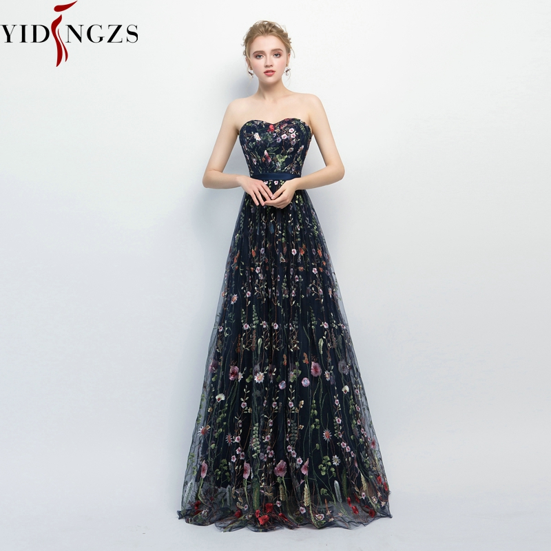 YIDINGZS Navy Blue Pleat Tulle   Evening     Dress   8 Colors Flower Embroidery Strapless Elegant Long   Evening     Dress   New Arrive