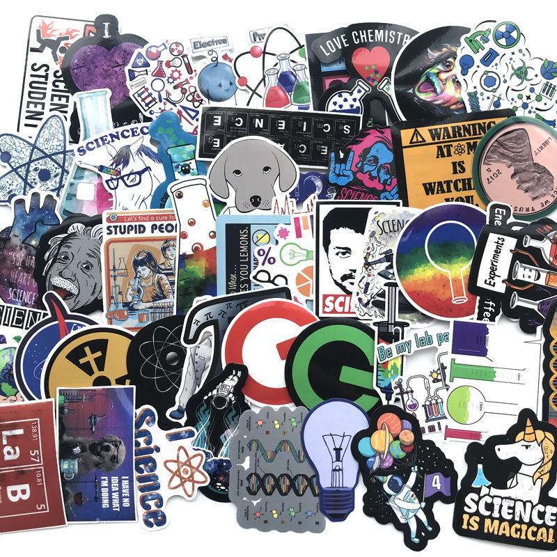 TD ZW 51Pcs Science Chemistry Lab Stickers For Waterproof Decal Laptop Motorcycle Luggage Snowboard Car Sticker Pegatina