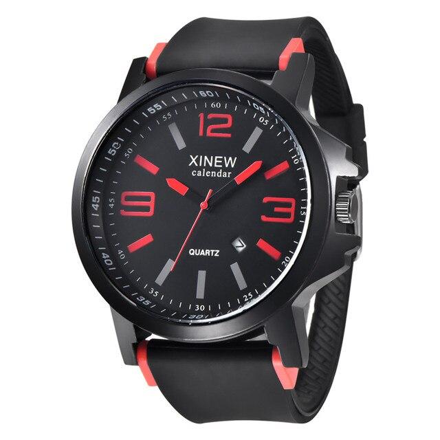 03ea1a9f8a6c Xinew reloj de cuarzo mens relojes Top marca de lujo logo silicona reloj  deportivo para hombres