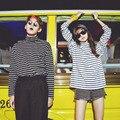 Tee Camisas de Mulher 2017 Nova Primavera Coreano Ulzzang Harajuku Listrado Gola T-shirt Para As Mulheres Manga Comprida T-shirt Casual Tops