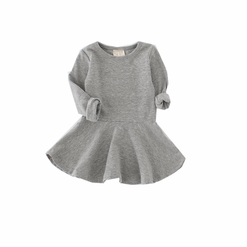 Retail Spring Autumn Children Clothes Girl Long Sleeve O-neck Mini Dress Baby Girl Solid Cute Dress Children Clothing 0-5years cute long sleeve parrot print girl s mini dress