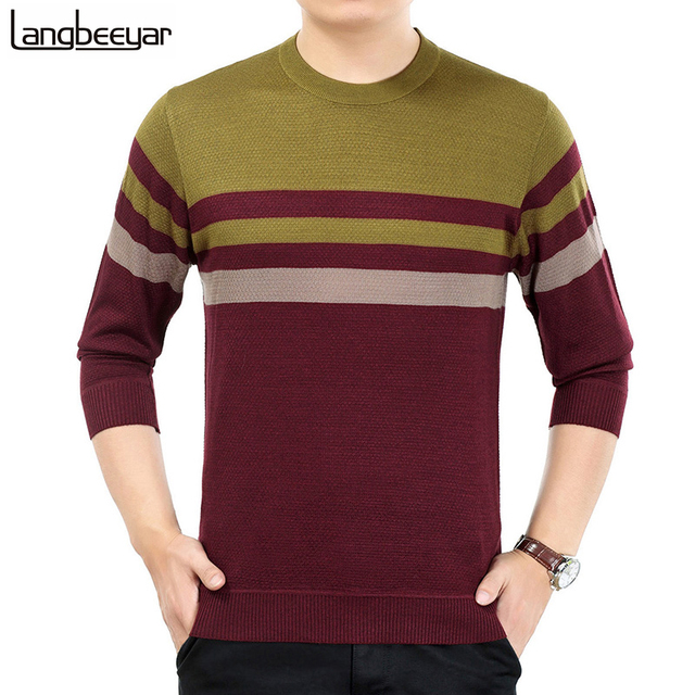 2017 New Fashion Autumn Winter Pullover Sweater Men O-Neck Patchwork Knitted Sweater Business Casual Mens Sweaters And Pullovers