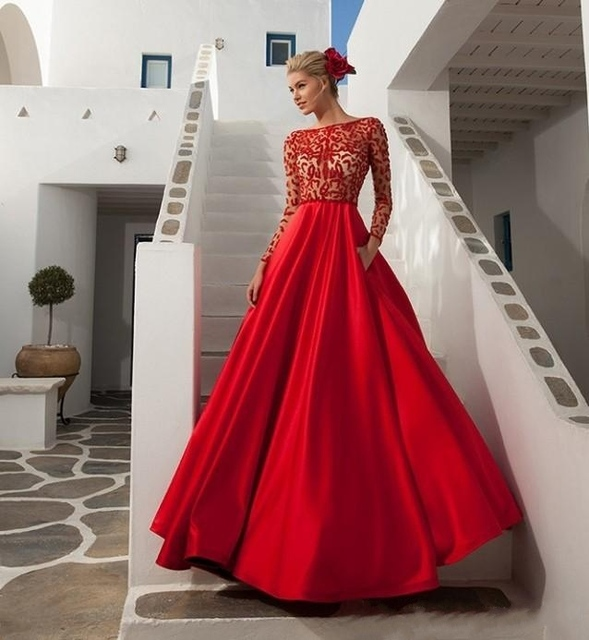 Vestidos de festa 2016 Prom Dresses Red Ball Gowns with Bateau See ...