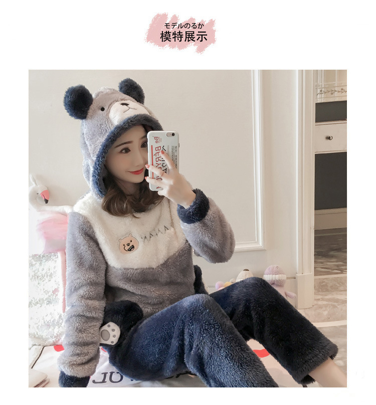 Winter Women Pajama Flannel Sleepwear Long Sleeves Hot Pajamas For Women Velvet Pajama Women Soft Clothing 101