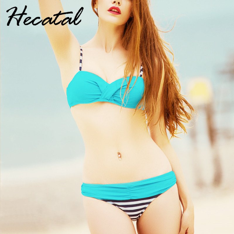 Hecatal 2018 Sexy Candy Colors Bikini Push Up Swimsuit Women Swimwear Striped Wave Point Cute Bikini Sets Gril Biqiuni Puls Size