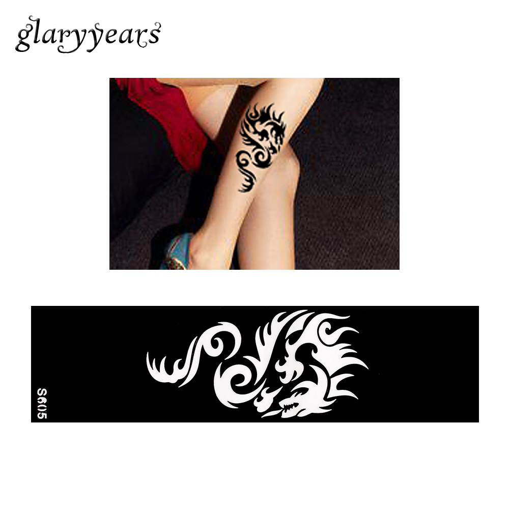 Hot 1 Piece Small Hollow Henna Leg Tattoo Stencil DIY Health Body Art Anklets Strip Dragon Totem Design Tattoo Stencil Fake S605