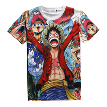 2017 Large Size Men Women Summer ONE PIECE NARUTO Cartoon 3D Print Short Sleeve Slim Fit Boy Girl  Hip Hop 3D Anime T Shirts