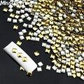 1000 unids/pack Cuadrado Gold Silver Metal 3d Nail Art Decoración de Uñas Metallic Espárragos Rhinestone DIY Accesorios Manicura Herramientas