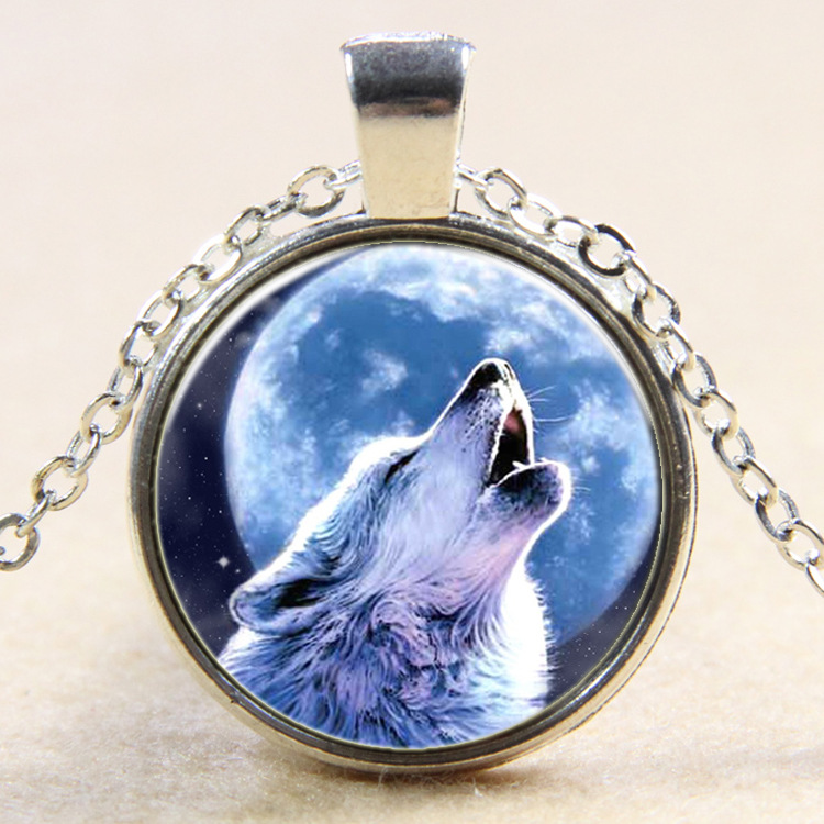 12pcs Europe and the United States time Wolf totem pendant necklace sweater chain B404 s ...