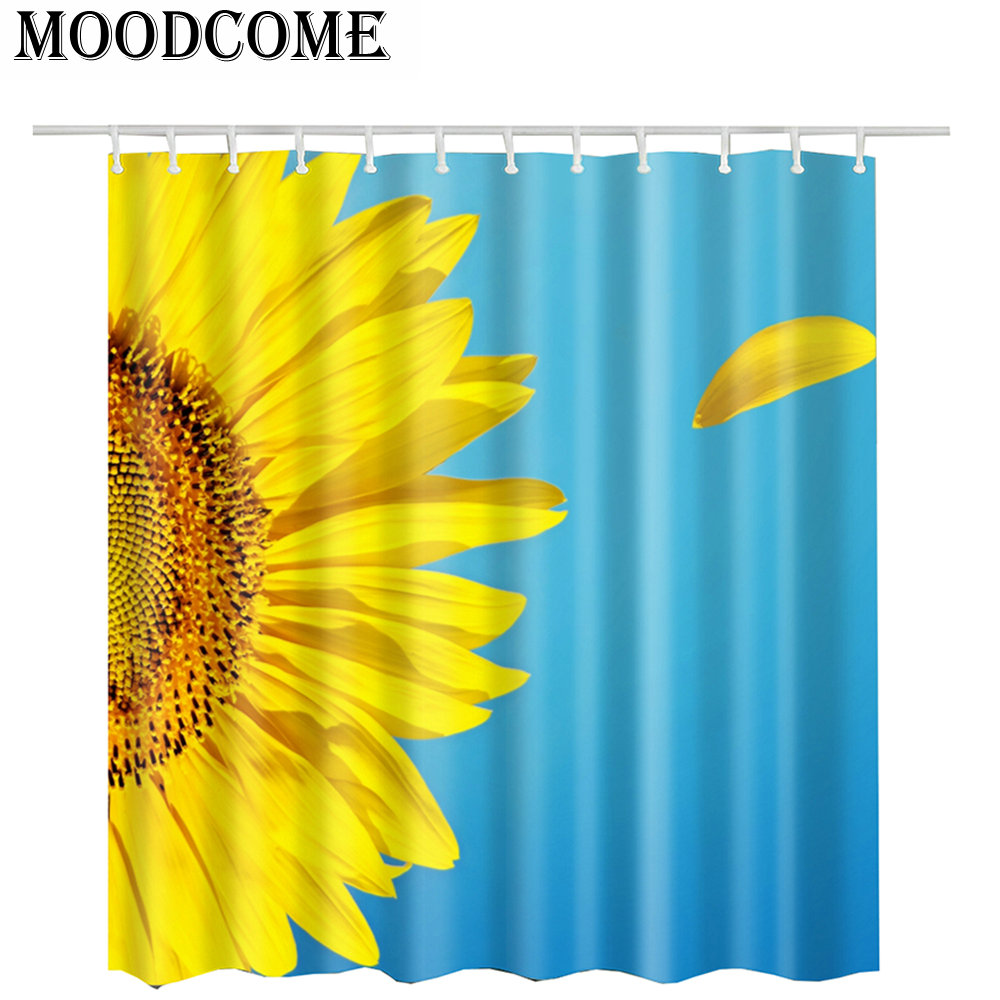 Yellow Shower Curtain Bath Sunflower Bathroom Polyester Fabric Blue Gold Badkamer Rideau Douche Tissus In Curtains From Home