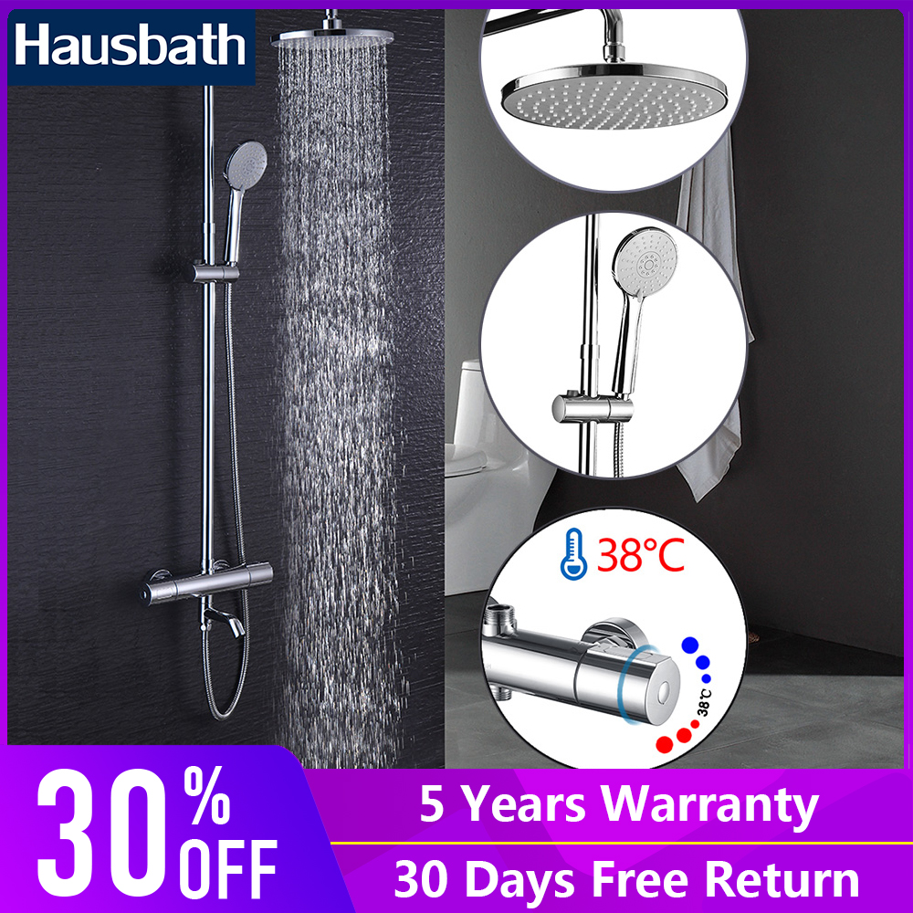 Shower Set Thermostatic Faucet Ceramic Mixing Valve Rain Bathroom Shower Hand Shower Head Chrome Brass exposed bathroom thermostatic shower faucet set 10 inch round led temperature sensitive rain bath shower head brass hand shower