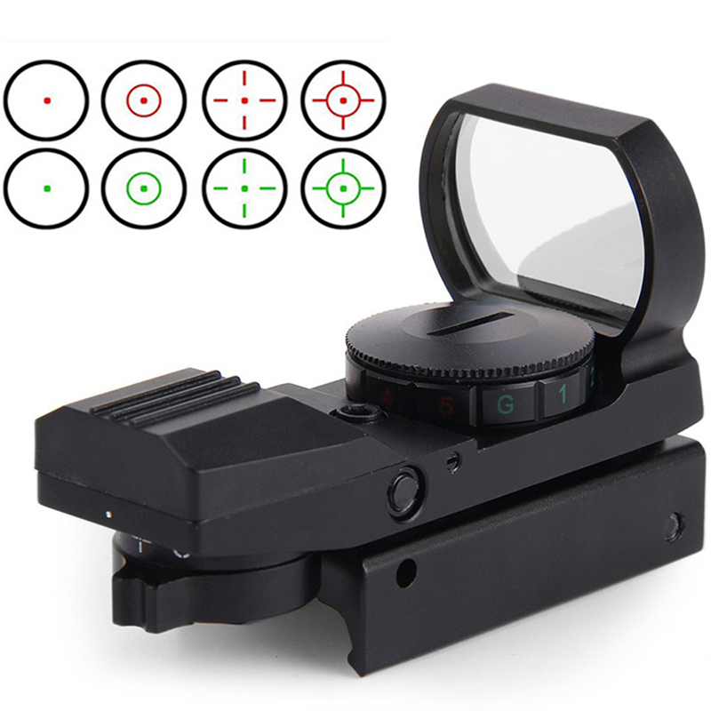 11 20 mm Rail Riflescope 22x33mm SLR lens wide sight Holographic Red green Dot Sight Reflex 4 Reticle Tactical Gun Accessories in Hunting Gun Accessories from Sports Entertainment