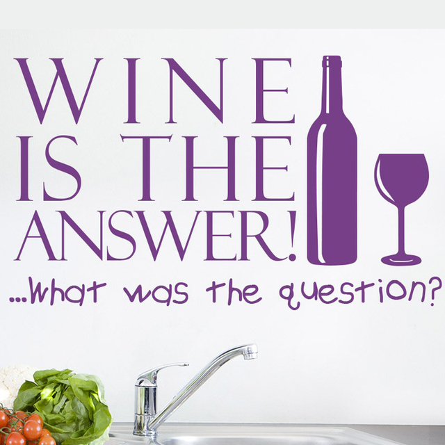 aliexpress com buy wine is the answer wall art sticker kitchen quote wall sticker never trust a skinny cook