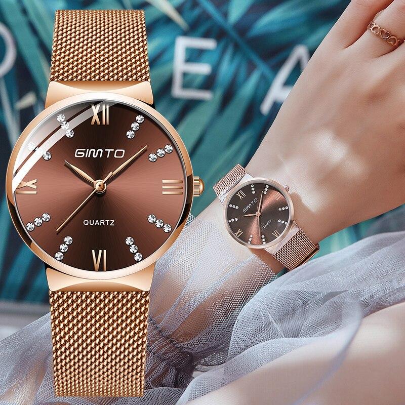 GIMTO New Rose Gold Women Watches Steel Dress Watch Lady Bracelet Quartz Watch Luxury Brand Female Wristwatch Waterproof Clock in Women 39 s Watches from Watches