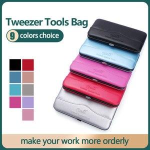 Image 2 - แต่งหน้าEyelashes Tweezerเครื่องมือกระเป๋าEyeLash Extensionแหนบเครื่องสำอางกล่องเครื่องมือสำหรับTweezerชุดขายส่งOEM