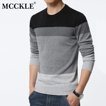 MCCKLE sweter mężczyzn 2018 luźny pulower mężczyźni jesień wokół szyi Patchwork jakości dzianiny marki męskie swetry Plus Size