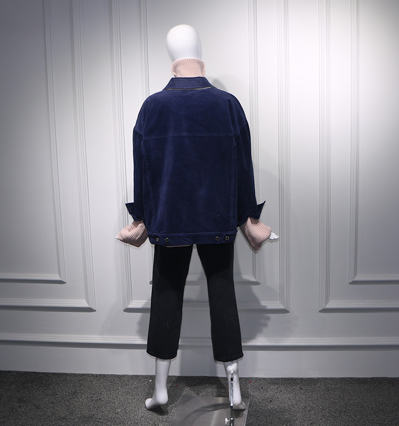 Veste Couleurs Poches Velours Manteau 2018 Streetwear Whitney Wang Hiver Femmes Contraste Patchwork Mode Automne Z1YnPgTwq